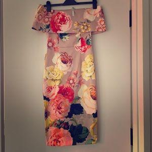 ASOS size 2 Floral midi off-the-shoulder dress